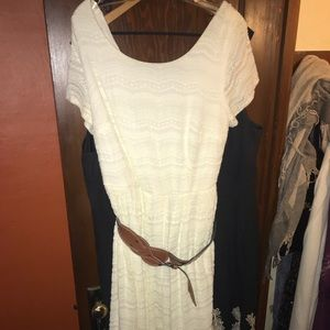 White lace dress with Brown buckle